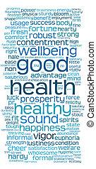 bueno, palabra, etiqueta, salud, o, nube