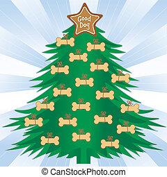 bueno, perro, árbol de navidad