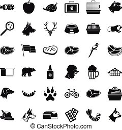 bueno, perro, iconos, conjunto, simple, estilo
