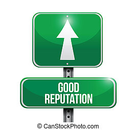 bueno, reputación, camino, ilustración, señal