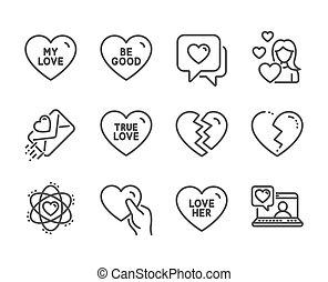 bueno, tal, amor, vector, chat., sepárese, conjunto, amigos, ser, iconos