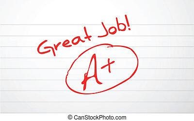 bueno, trabajo, papel, graduación, en, rojo, tinta