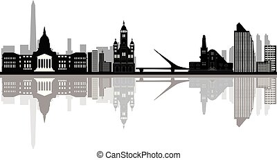 buenos aires city skyline drawing with bridge and church