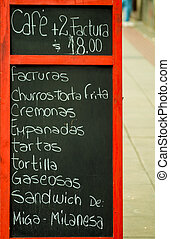 Buenos Aires food - Chalkboard offering a choice of...