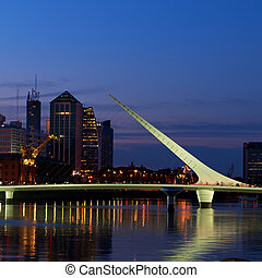 Buenos Aires night view. - Puerto Madero neighbourhood at...