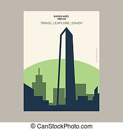 Buenos Aires Obelisk Buenos Aires, Argentina Vintage Style Landmark Poster Template