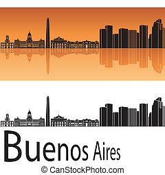 Buenos Aires skyline in orange background