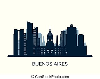 Buenos Aires skyline, monochrome silhouette.