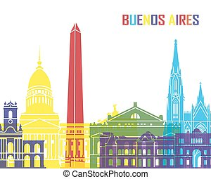 Buenos Aires skyline pop in editable vector file