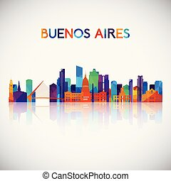 Buenos Aires skyline silhouette in colorful geometric style.