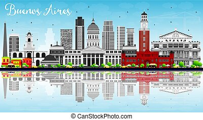 Buenos Aires Skyline with Color Landmarks, Blue Sky and Reflections.