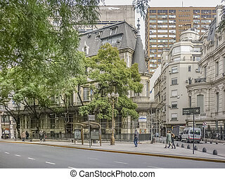 Winter day urban scene with eclectic style architecture in Buenos Aires, the capital city of Argentina in South America.
