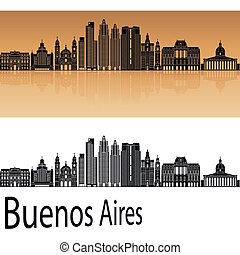 Buenos Aires V2 skyline in orange background in editable ...