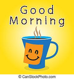 buenos días, con, café, y, nota pegajosa, para usted