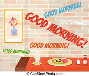 buenos días, en, café