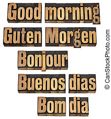 buenos días, en, cinco, idiomas