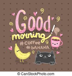buenos días, ilustración, con, café, cat.