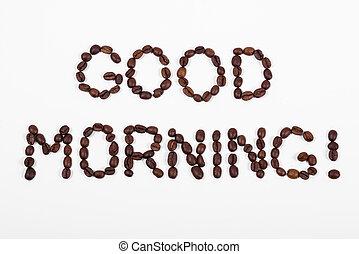 buenos días, texto, en, granos de café