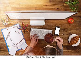 buero, arbeitsplatz, mit, hölzern, desk.