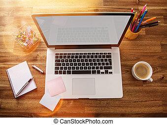 buero, arbeitsplatz, mit, laptop.