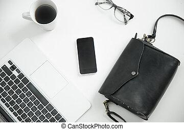 buero, bohnenkaffee, beweglich, brille, telefon, buero, tastatur, weißes