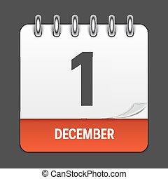 buero, dezember, monat, dekoration, holiday., design, aids, logo, kalender, emblem., dokumente, 1, tag, datum, abbildung, welt, tag, alltaegliches, element, vektor, applications., icon.