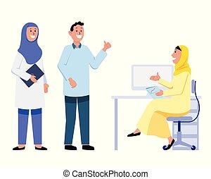 buero, erklärt, ausgaben, moslem, angestellter, m�dchen