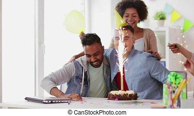 buero, feiern, mannschaft, party, korporativ, glücklich