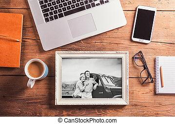 buero, foto, schwarzweiss, desk., gegenstände, ältere paare