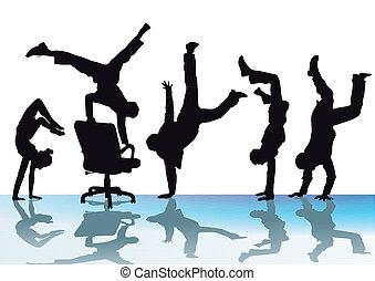 buero, freude, handstand