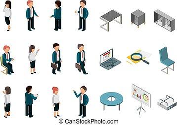 buero, geschaeftswelt, vektor, manager, leute, sammlung, isometric., möbel, vorräte, direktoren, korporativ