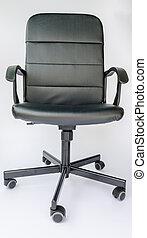 buero, leder, hintergrund., schwarz, chair., weißes