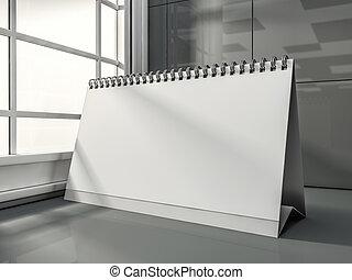 buero, leer, kalender, in, der, modern, interior., 3d