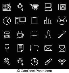 buero, linie, ikone, weiß, hintergrund