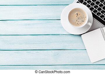 buero, mit, laptop, bohnenkaffee, und, notizblock