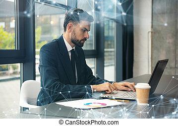 buero, modern, fenster., effekte, laptop, kaufleuten zürich, arbeiten, buero, vernetzung