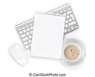 buero, notizblock, aus, computertastatur, maus, und,...