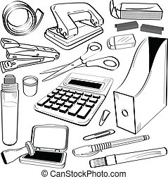 buero, schreibwaren, werkzeug, gekritzel
