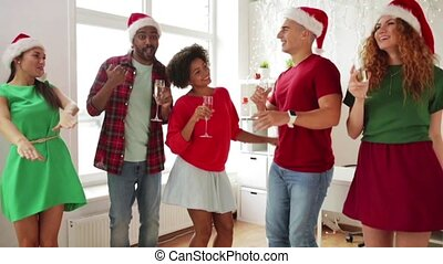 buero, tanzen, mannschaft, party, korporativ, weihnachten