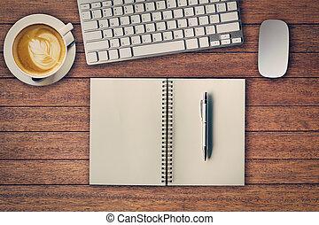 buero, tisch, mit, notizblock, edv, und, kaffeetasse, und, edv, mouse., siehe oben, mit, kopieren platz