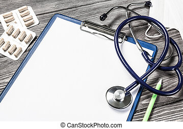 buero, von, doktor, mit, medizinprodukt, sachen