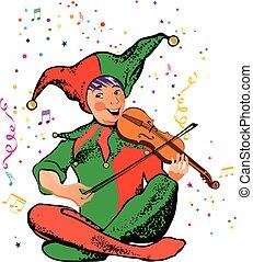 bufón, violinista