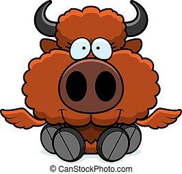 bufalo, cartone animato, ali, seduta