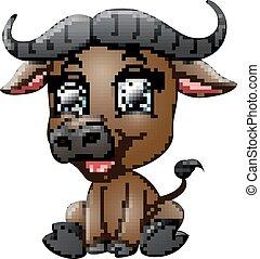 bufalo, cartone animato, felice