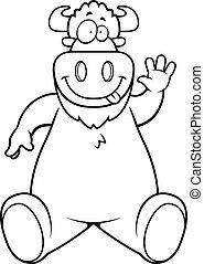 bufalo, cartone animato, seduta