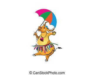 bufalo, compiendo, samba