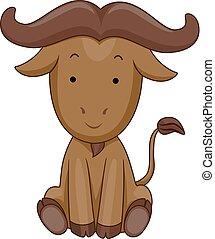 bufalo, illustrazione, sedere