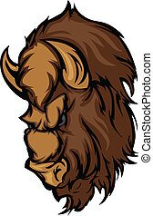 bufalo, testa, bisonte, cartone animato, mascotte