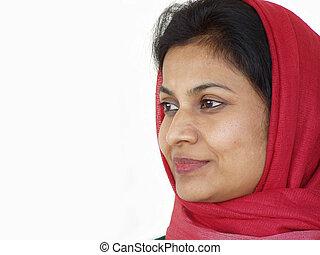 bufanda, mujer sonriente, arou, rojo
