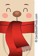 bufanda, navidad, oso polar